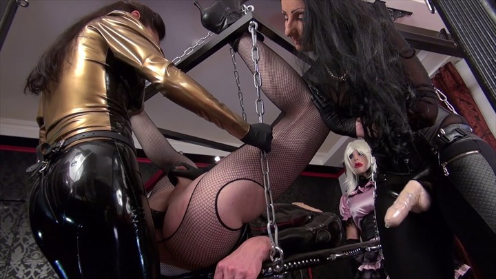 The TV Bitch has To Take Our Strap-on Ass Play Domination/FemDom Strap On