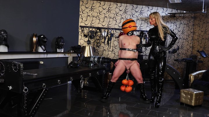 Calea Toxic and her Halloween Slave CBT Gagged Nipple Torture