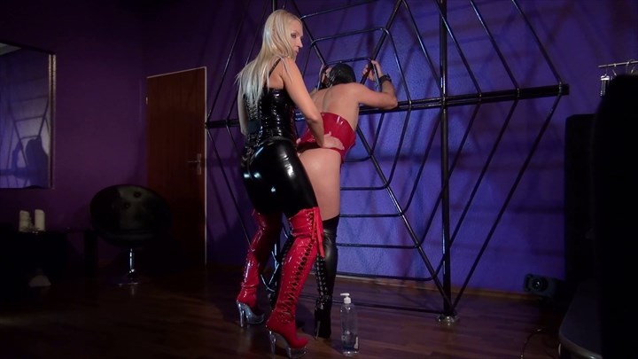 Mistress Marta - Fucked in her Spiderweb Strap On Ass Play