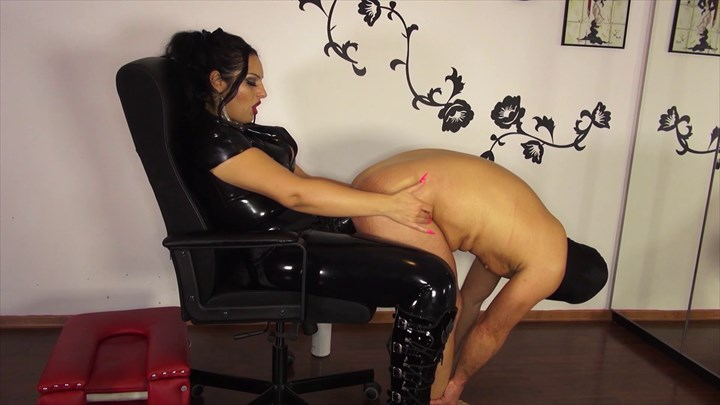 Slave with Big Balls gets it up the ass Anal Stretching CBT Strap On