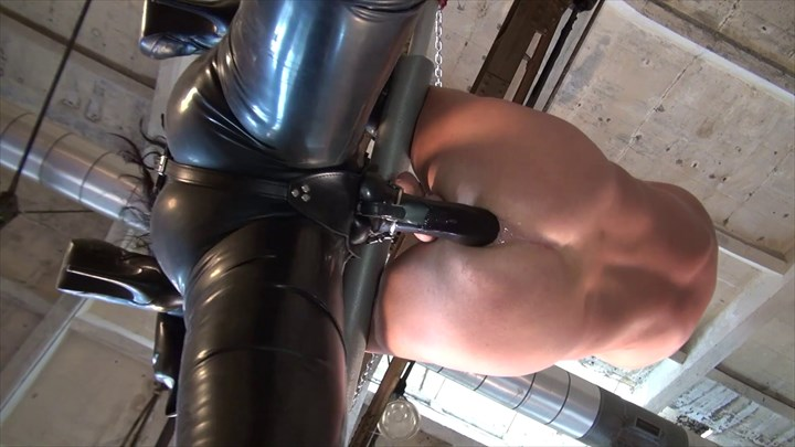 Suspension strap-on fucking in the factory Anal Stretching Latex Fetish Strap On