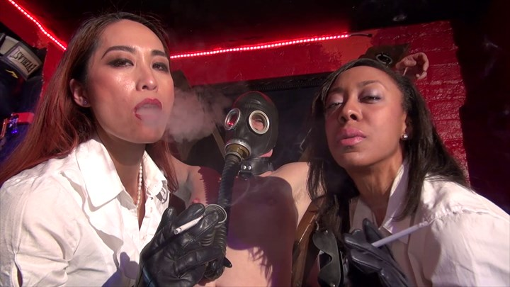 The Smoking Leather Ladies 2-on-1 Action Chastity Device Ebony Domination