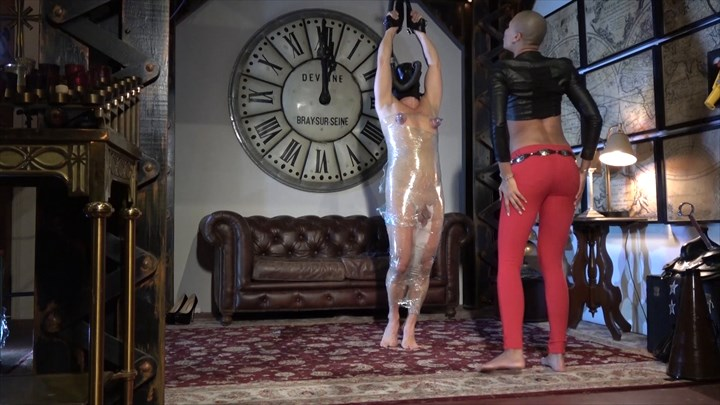 Queen Qandisa - Nipple Torment in Clingfilm Vacuuming Nipple Teasing Nipple Torture Ebony Domination