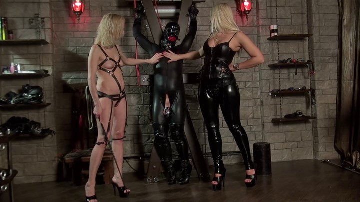 The fetish Slave at the cross Chastity Device Nipple Torture Fetish