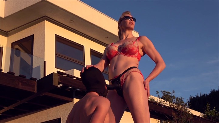 Strap-on blowjob in Beverly Hills Tall Mistress