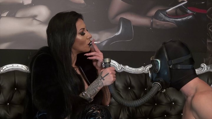 Gasmask Smoke Fetish Session Smoking