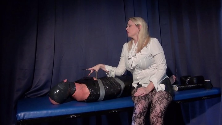 Punished In Clingfilm By Domina M CBT Nipple Torture