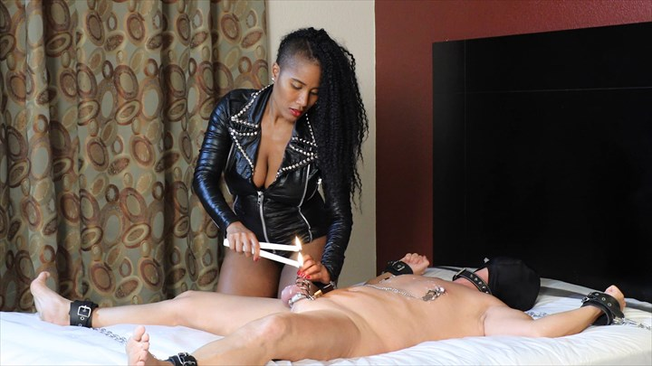 Jetset Jasmine - Punished With Hot Wax In The Hotel Chastity Device Ebony Domination Wax
