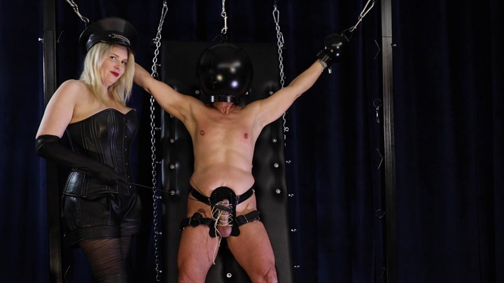 The Slave With The Black Helmet CBT Nipple Teasing