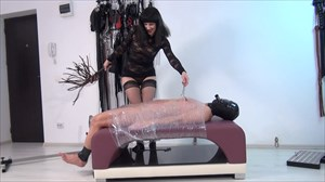 Punished In Clingfilm - Part 1 CBT Nipple Torture Whipping